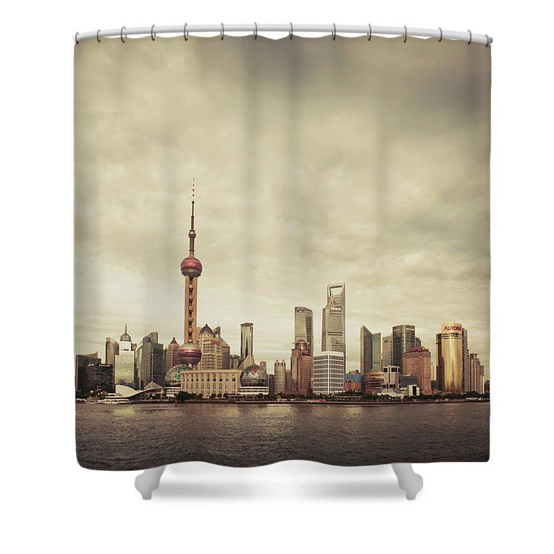 Communications Tower Shower Curtain featuring the photograph City Skyline At Sunset, Shanghai, China by D3sign