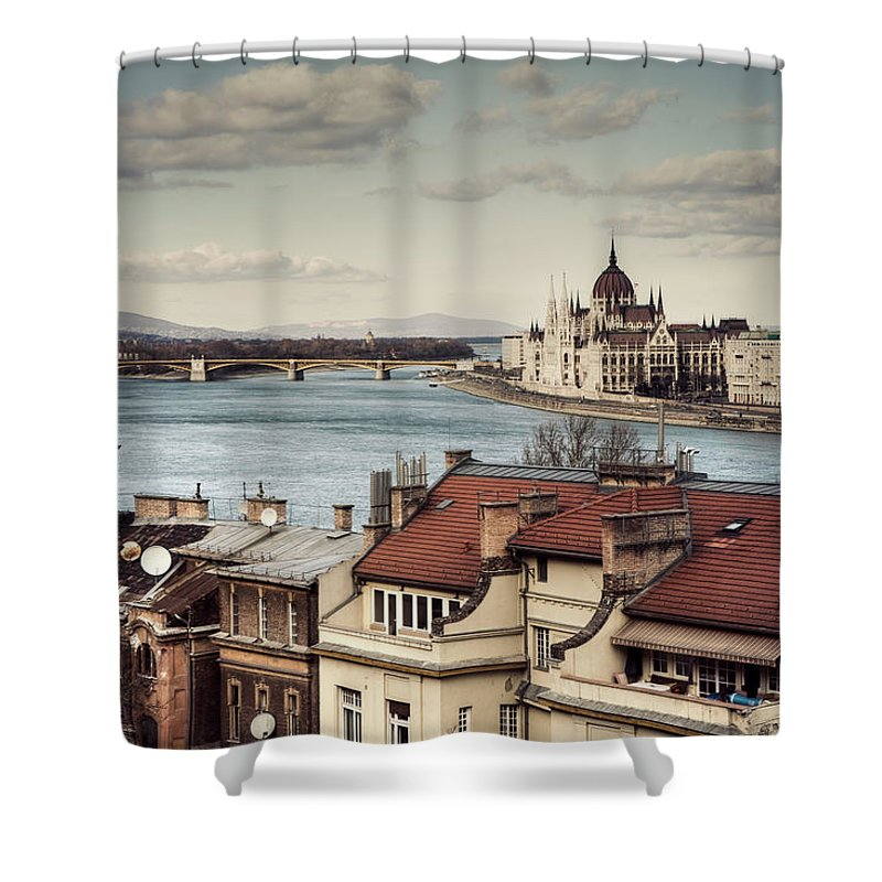 Tranquility Shower Curtain featuring the photograph Cityscape Of Budapest by By Matthew Heptinstall