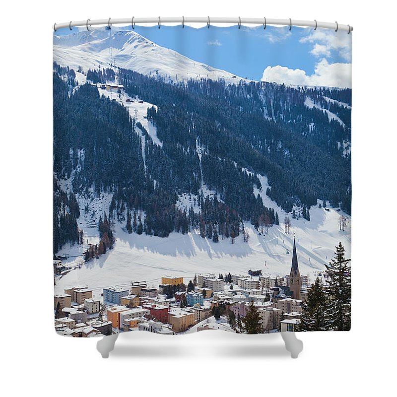 Snow Shower Curtain featuring the photograph Cityscape Of Davos, Grisons, Switzerland by Werner Dieterich