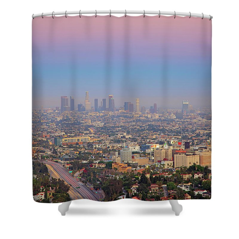 California Shower Curtain featuring the photograph Cityscape Of Los Angeles by Eric Lo