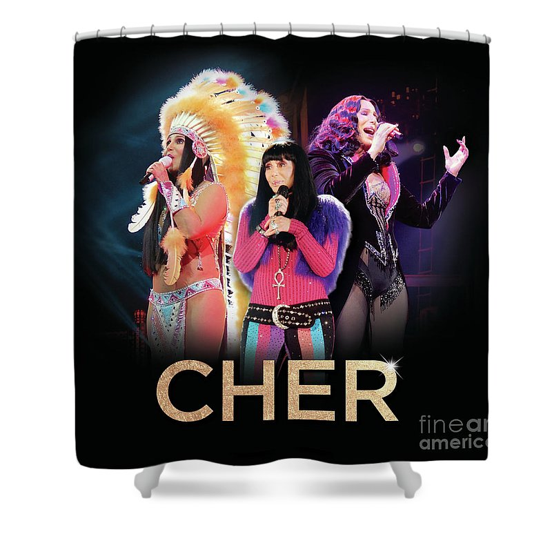 Cher Shower Curtain featuring the digital art Classic Cher Trio by Cher Style