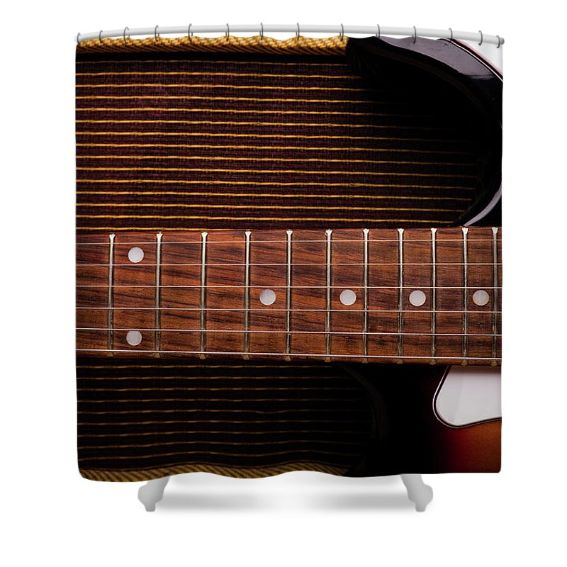 Rock Music Shower Curtain featuring the photograph Classic Electric Guitar And Amp Still by Halbergman