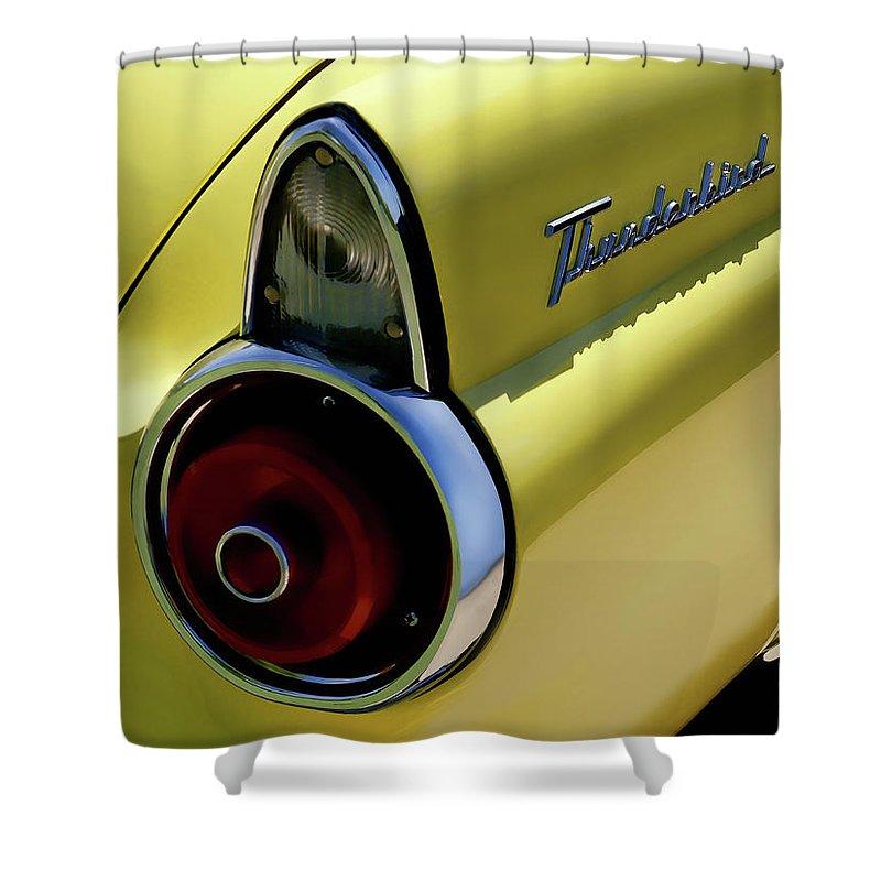 Thunderbird Shower Curtain featuring the digital art 1955 Thunderbird by Douglas Pittman
