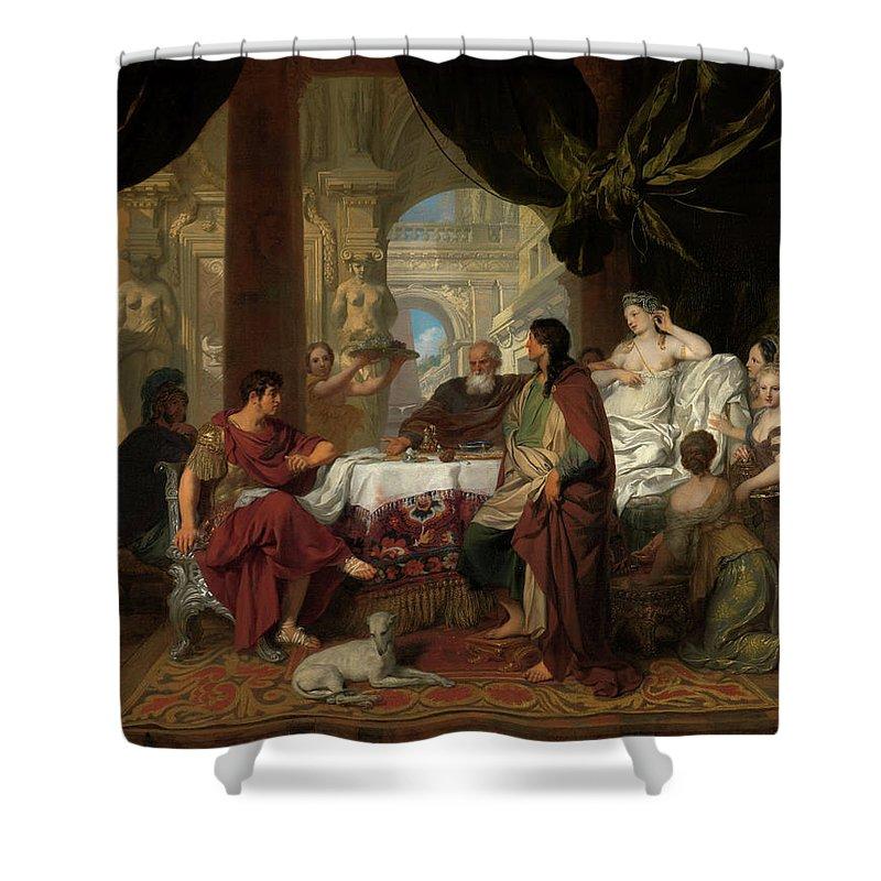 Gerard De Lairesse Shower Curtain featuring the painting Cleopatra's Banquet, 1680 by Gerard de Lairesse