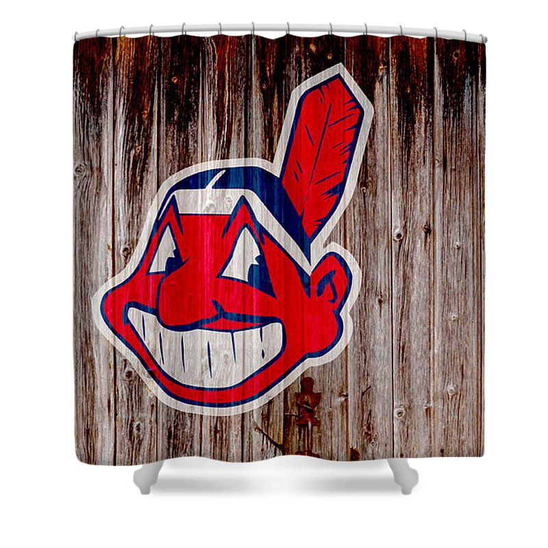 Clevland Shower Curtain featuring the digital art Cleveland Indians by Steven Parker