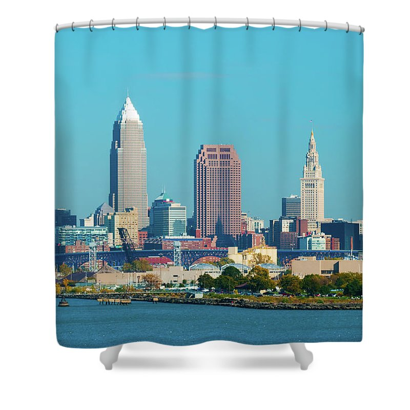 Downtown District Shower Curtain featuring the photograph Cleveland Skyline And Lake Erie by Davel5957