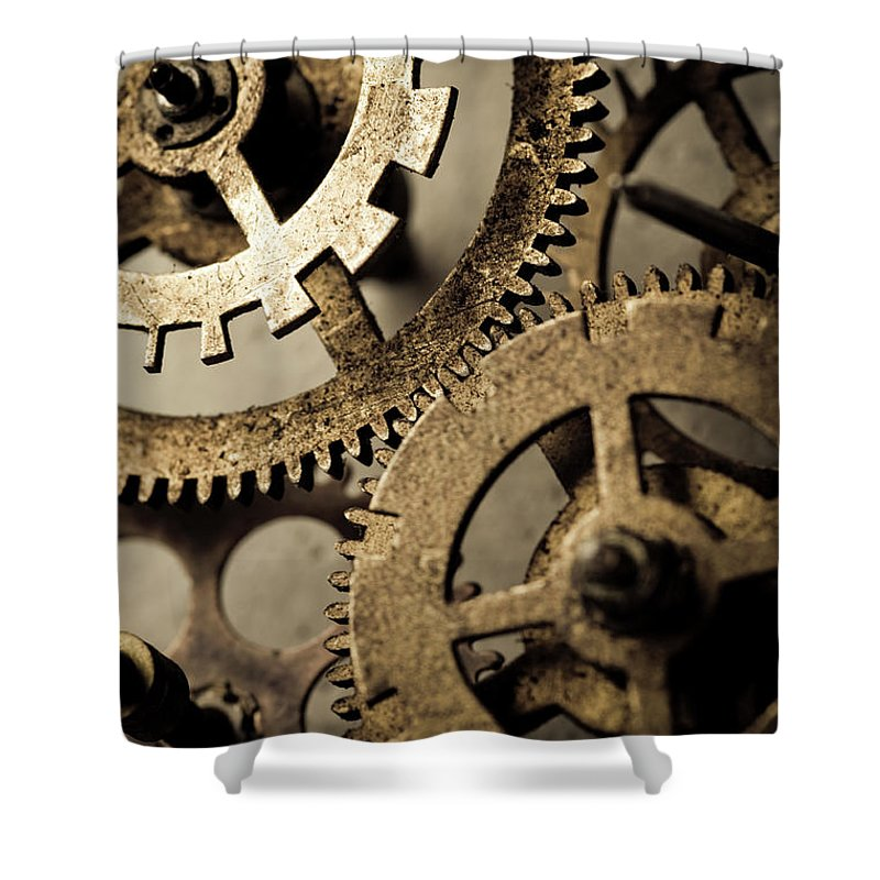 Working Shower Curtain featuring the photograph Clockworks by Marilyn Nieves