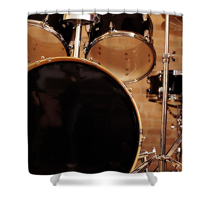 Microphone Stand Shower Curtain featuring the photograph Close-up Of A Drum Kit by Digital Vision.