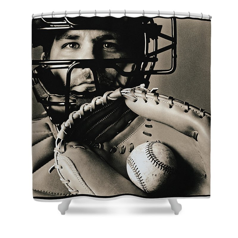 Baseball Catcher Shower Curtain featuring the photograph Close-up Of Catcher by Anthony Saint James