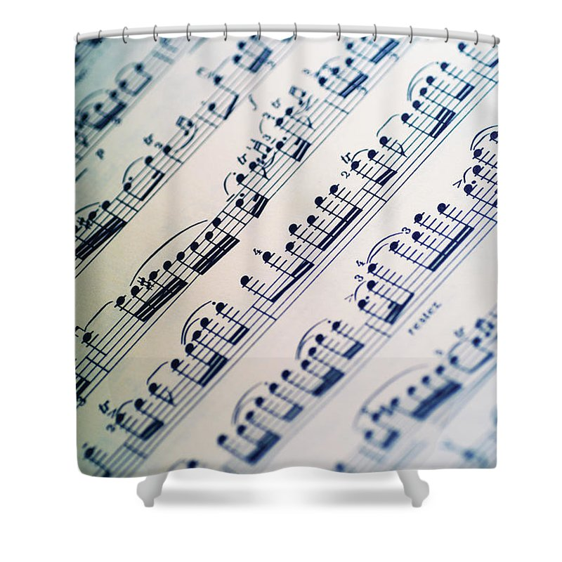 Sheet Music Shower Curtain featuring the photograph Close-up Of Sheet Music by Medioimages/photodisc