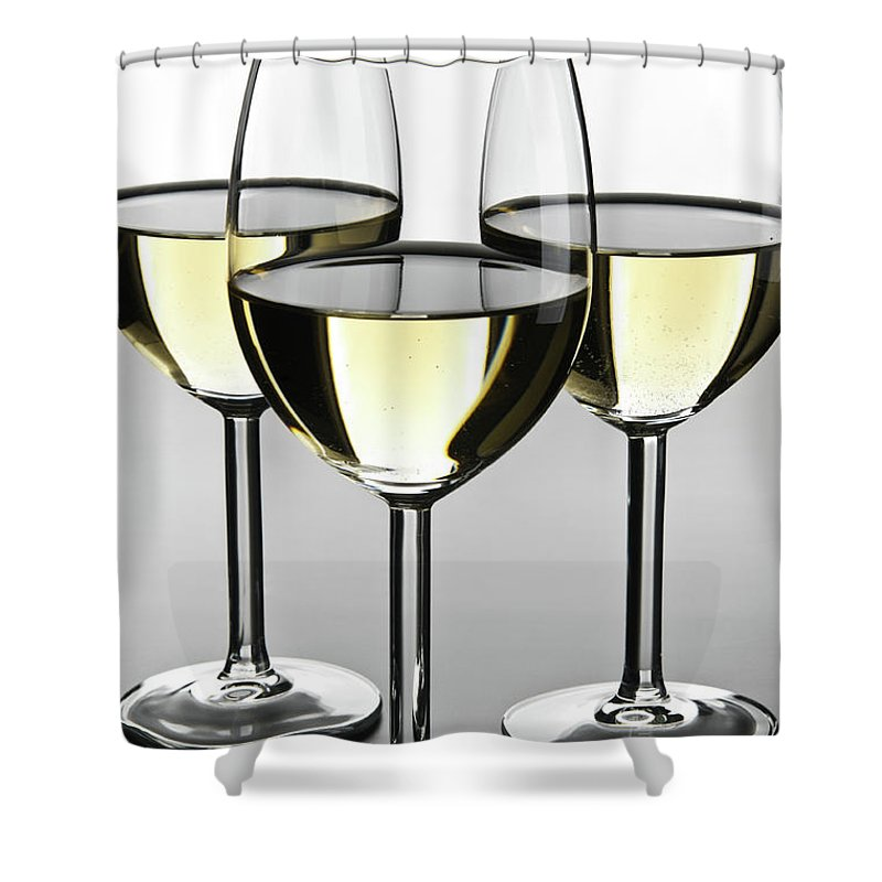 Alcohol Shower Curtain featuring the photograph Close-up Of Three White Wine Glasses by Domin domin