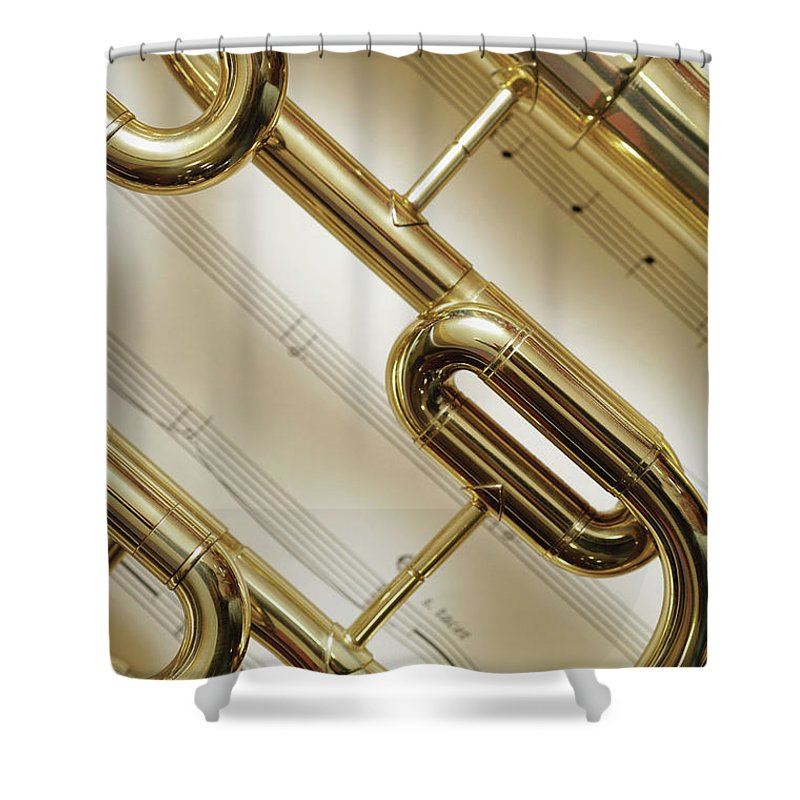 Sheet Music Shower Curtain featuring the photograph Close-up Of Trumpet by Medioimages/photodisc