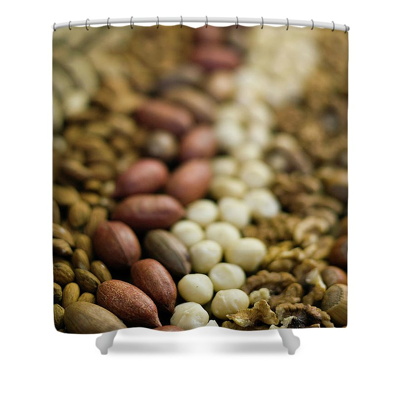 Nut Shower Curtain featuring the photograph Close Up Of Variety Of Nuts by Johner Images
