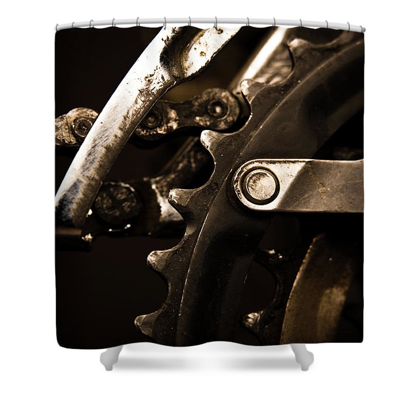 Unhealthy Eating Shower Curtain featuring the photograph Closeup Of Front Derailleur by Halbergman