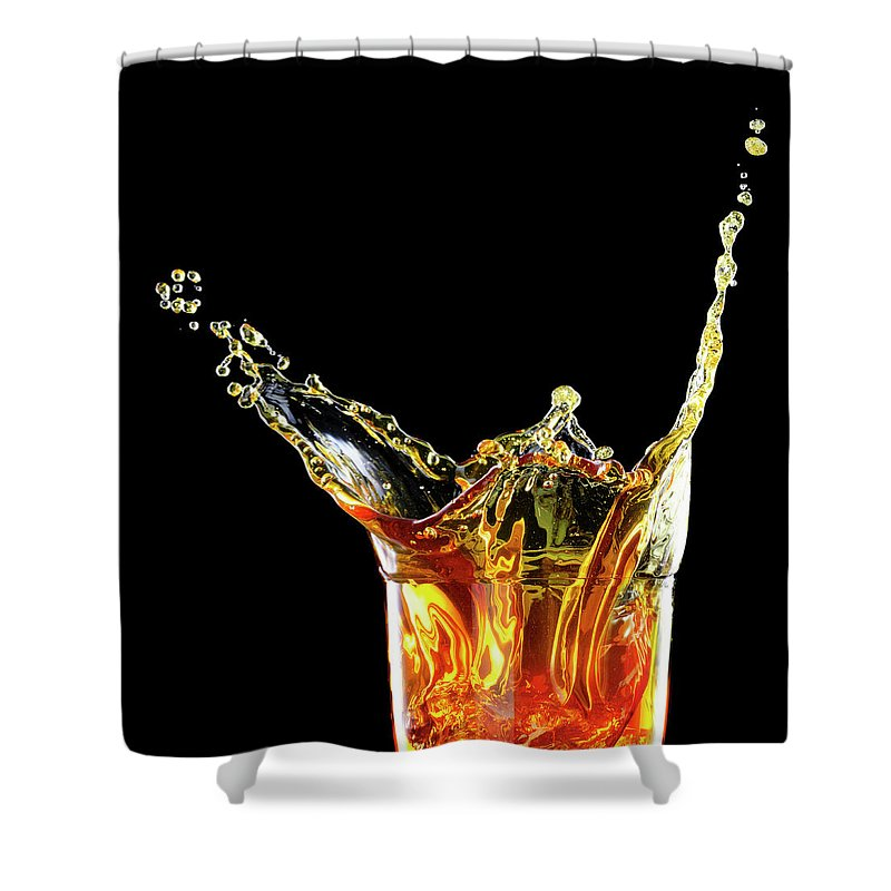 Alcohol Shower Curtain featuring the photograph Cocktail With Big Splash In A Tumbler by Chris Stein