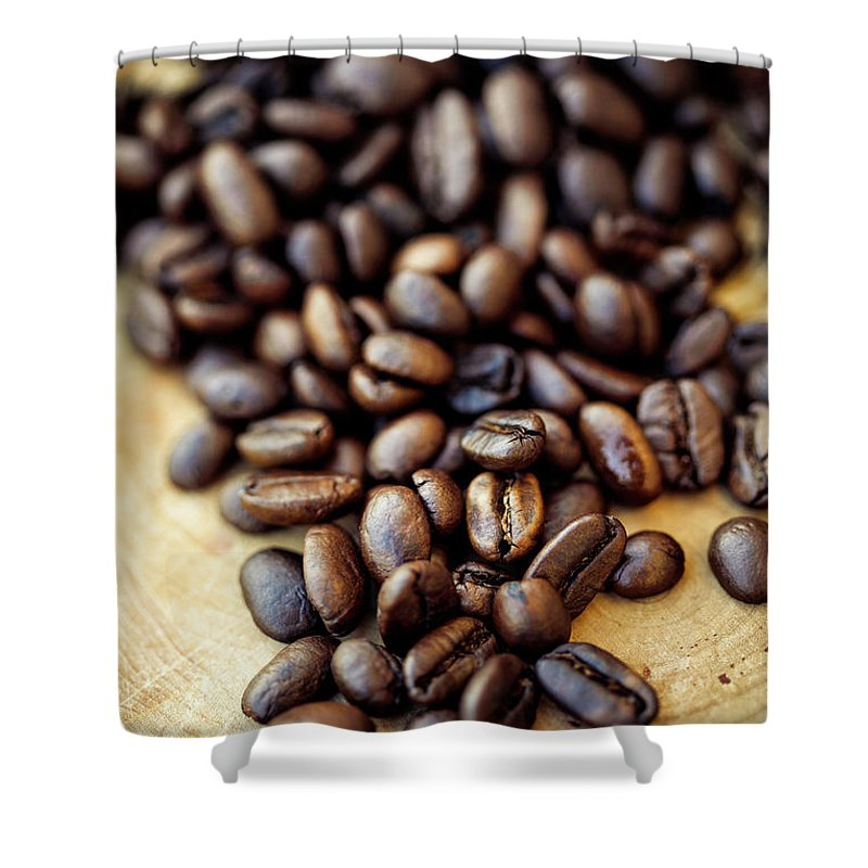 Black Color Shower Curtain featuring the photograph Coffee Beans by Chang
