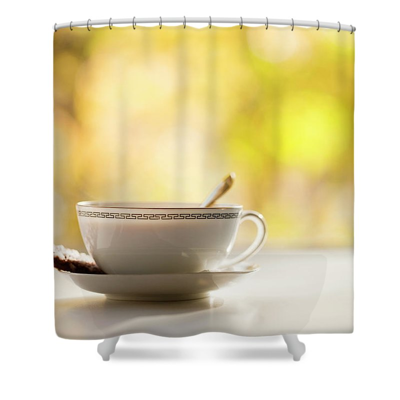 Food And Drink Shower Curtain featuring the photograph Coffee Cup With Cookie, Still Life by Johner Images