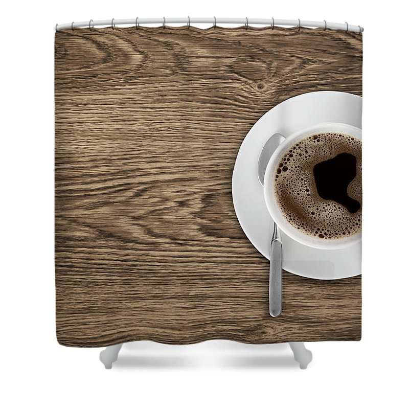 Natural Pattern Shower Curtain featuring the photograph Coffeecup With Coffee In It On A Wooden by Daneger