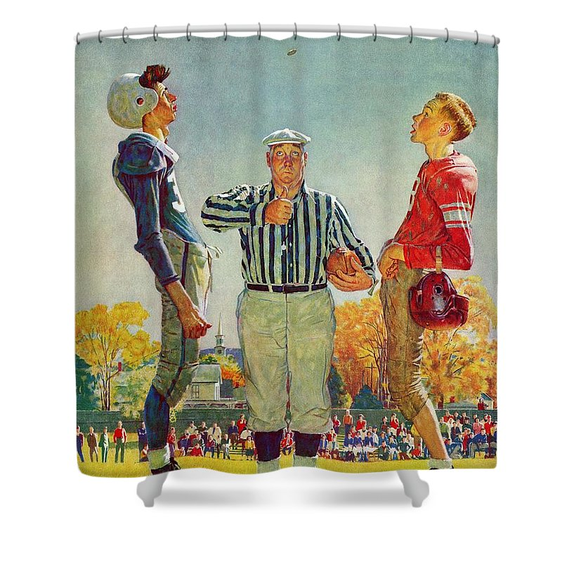 Coins Shower Curtain featuring the drawing Coin Toss by Norman Rockwell