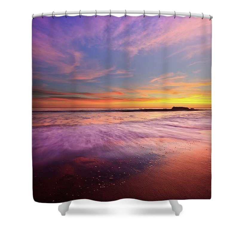 Scenics Shower Curtain featuring the photograph Color Splash At Sunset, Laguna Beach by Eric Lo