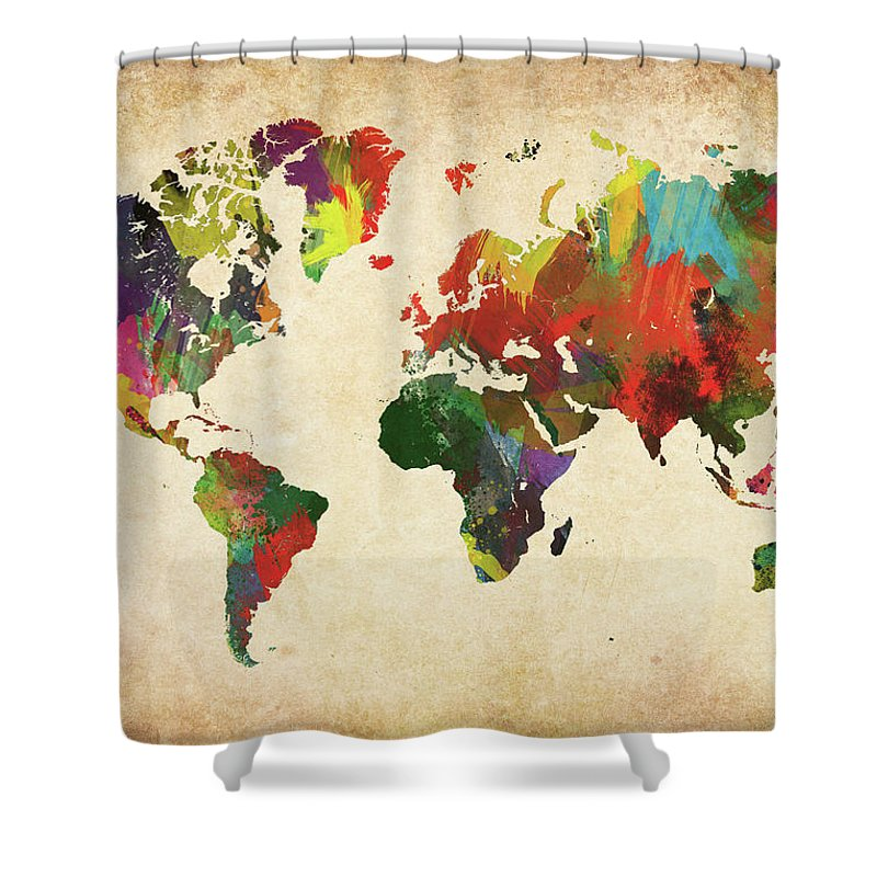 Art Shower Curtain featuring the photograph Colored World Map Xxxl by Sorendls