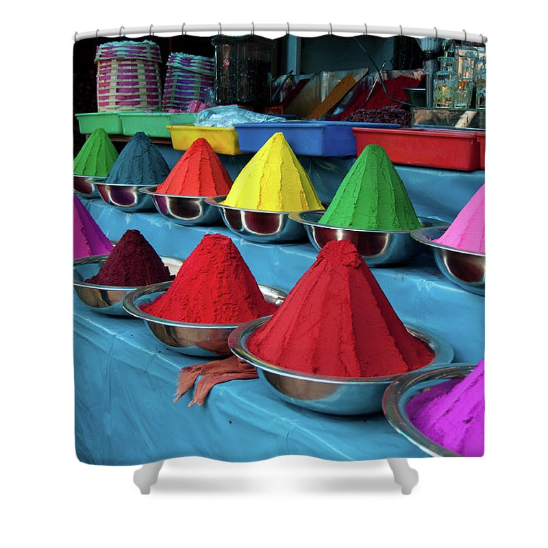 In A Row Shower Curtain featuring the photograph Colorful Dyes At Indian Market by Photo By Meredith Narrowe
