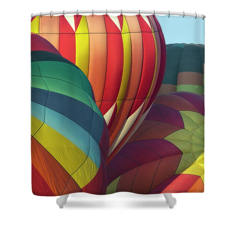 Celebration Shower Curtain featuring the photograph Colorful Inflation Balloon Race by Provided By Jp2pix.com