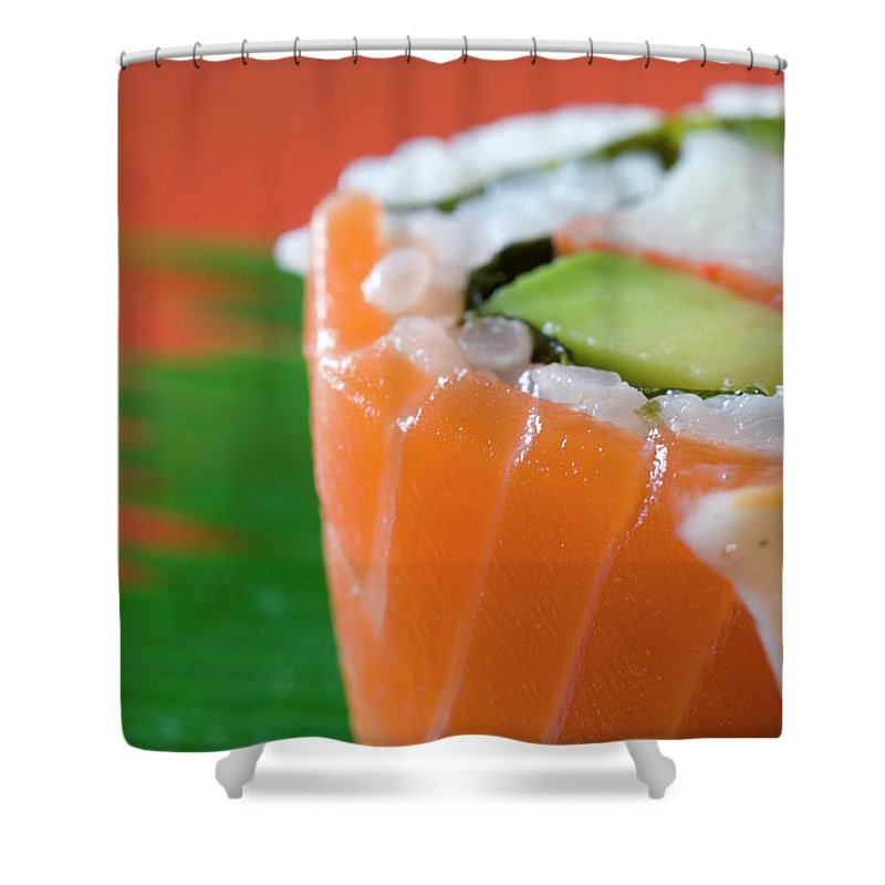 Asian And Indian Ethnicities Shower Curtain featuring the photograph Colorful Sushi by Creativeye99