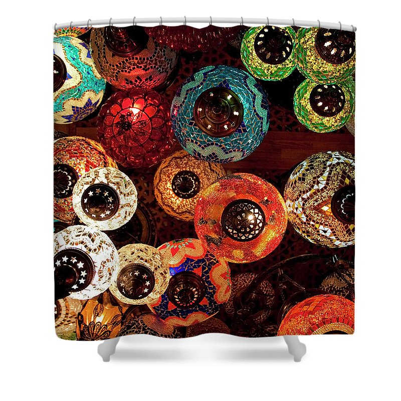 Antique Shop Shower Curtain featuring the photograph Colorful Turkish Lanterns From The by Wldavies