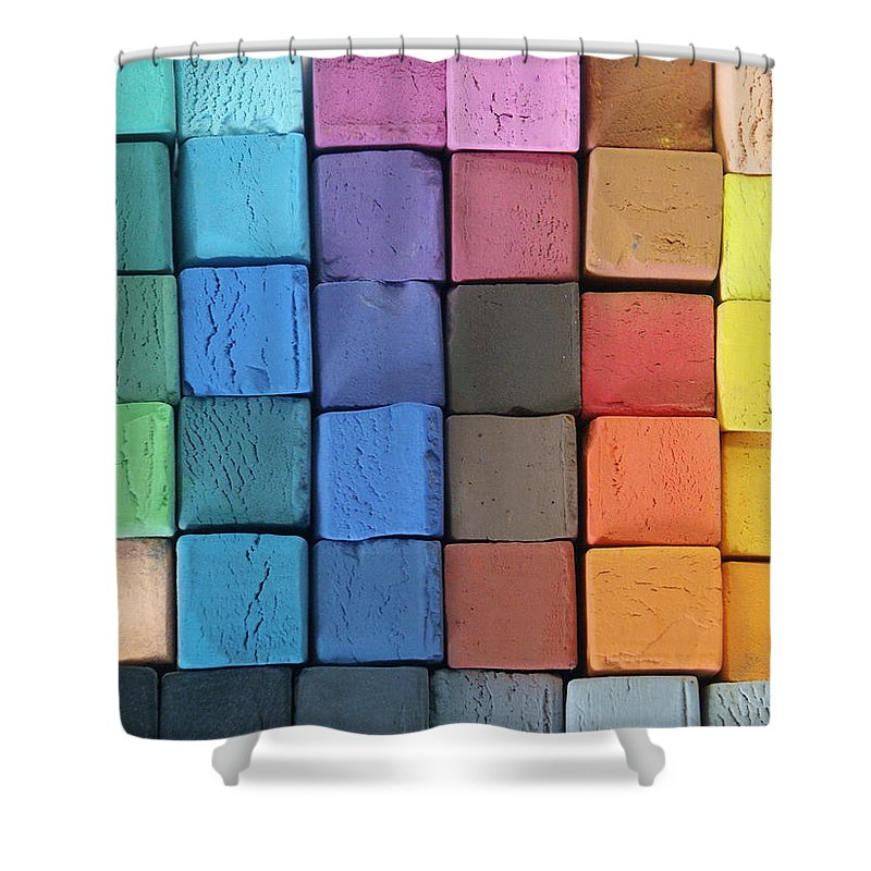 Block Shape Shower Curtain featuring the photograph Coloured Pastels by Mevans
