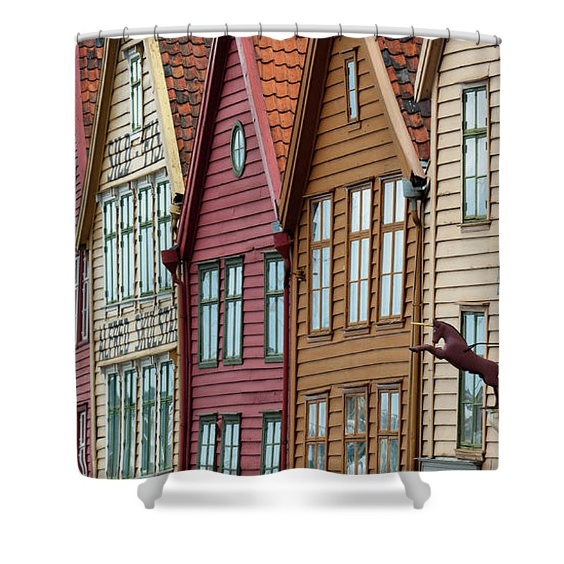 Panoramic Shower Curtain featuring the photograph Colourful Houses In A Row by Keith Levit / Design Pics
