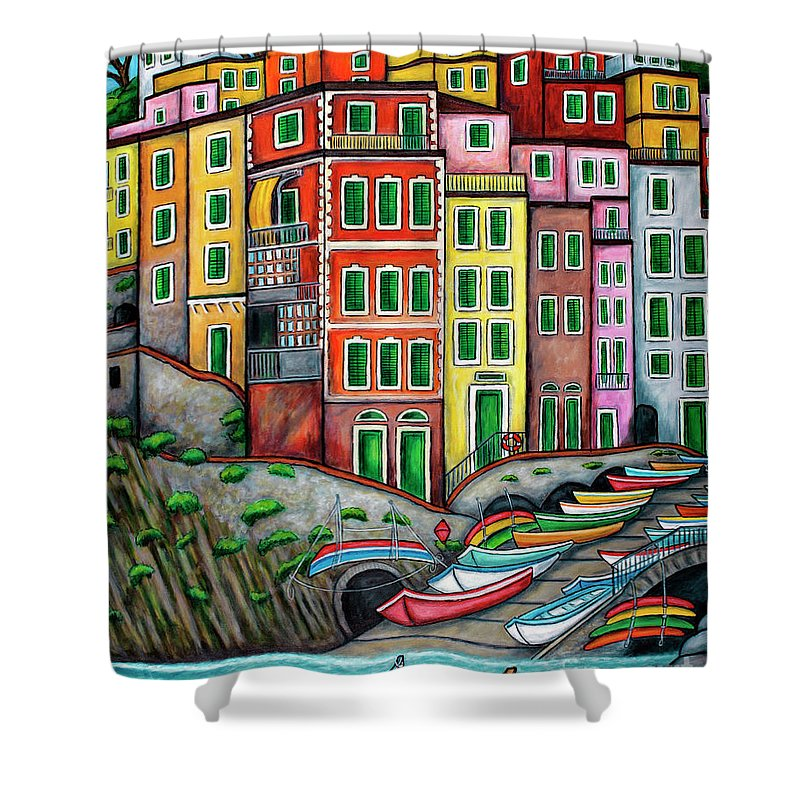 Italy Shower Curtain featuring the painting Colours of Riomaggiore Cinque Terre by Lisa Lorenz