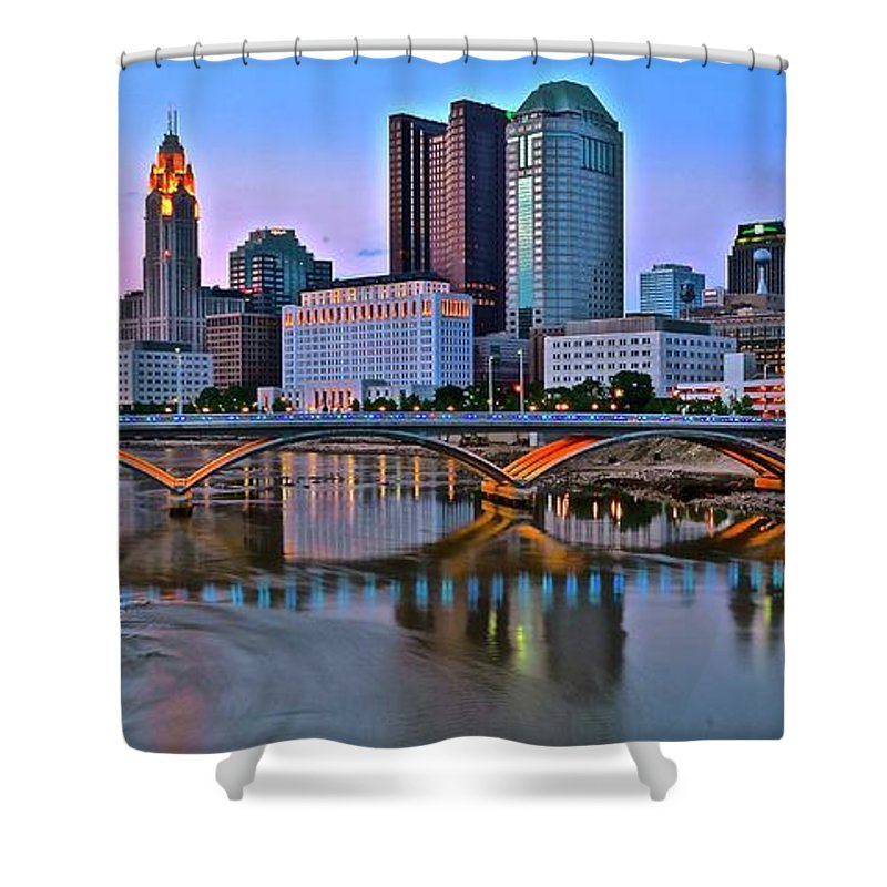 Columbus Shower Curtain featuring the photograph Columbus Panorama Scioto View by Frozen in Time Fine Art Photography