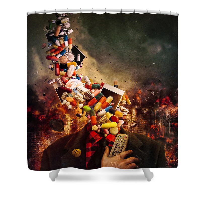 Pink Floyd Shower Curtain featuring the digital art Comfortably Numb by Mario Sanchez Nevado