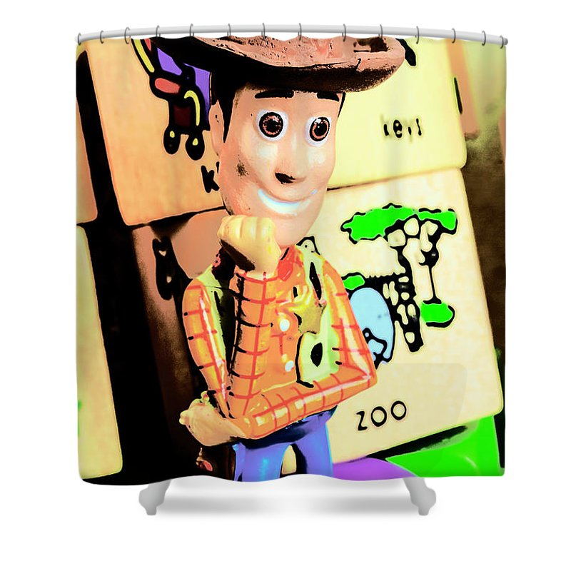 Cowboy Shower Curtain featuring the photograph Comic Cowboy by Jorgo Photography - Wall Art Gallery