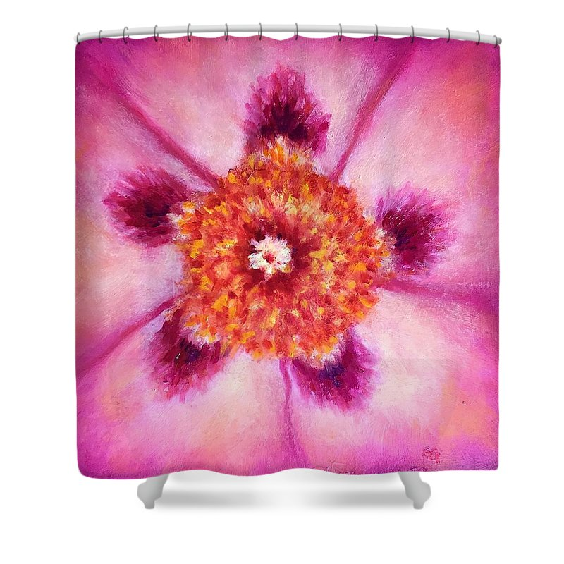 Compassion Shower Curtain featuring the painting Compassion Heart Center Series by Shannon Grissom