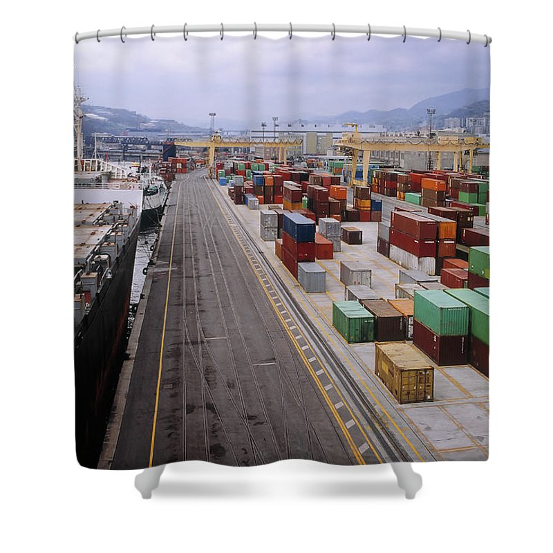 Freight Transportation Shower Curtain featuring the photograph Container Shipping, Port Of Genoa, Italy by Alberto Incrocci