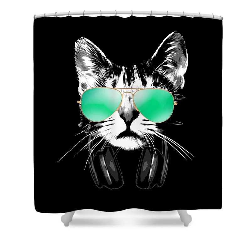 Cat Shower Curtain featuring the digital art Cool DJ Cat by Filip Schpindel