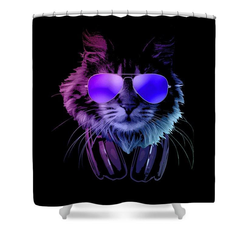 Cat Shower Curtain featuring the digital art Cool DJ Furry Cat In Neon Lights by Filip Schpindel