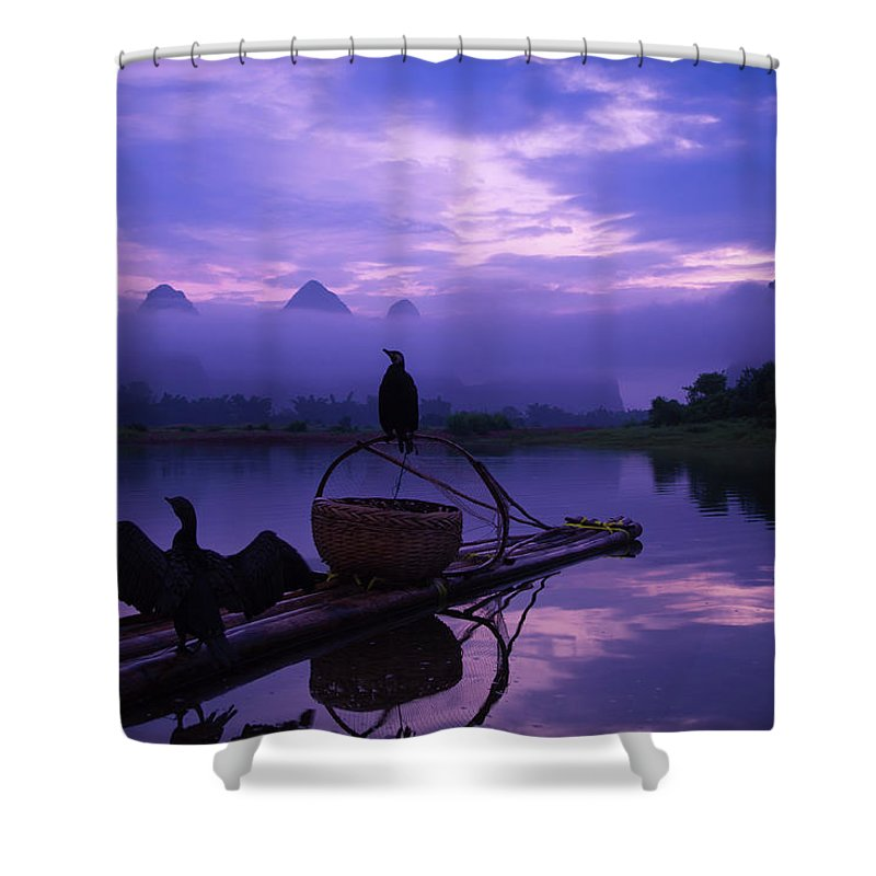 Chinese Culture Shower Curtain featuring the photograph Cormorant On Li River by Coffeeyu