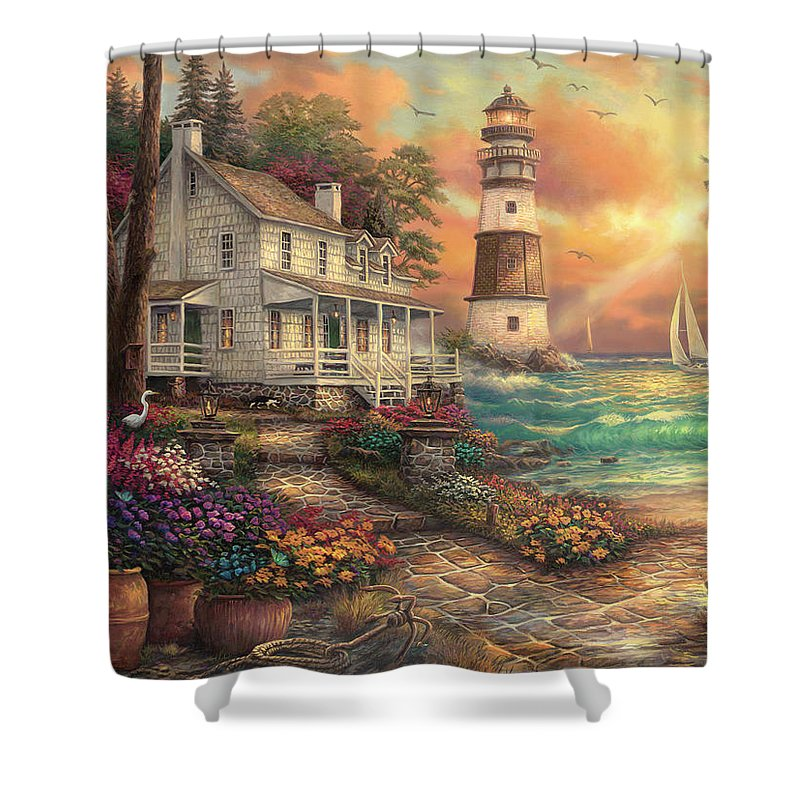 Light Peace Shower Curtain featuring the painting Cottage By The Sea by Chuck Pinson