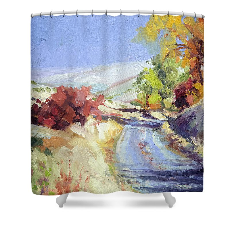 Country Shower Curtain featuring the painting Country Blue Sky by Steve Henderson