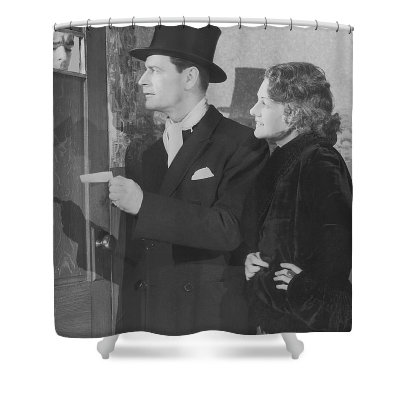 Young Men Shower Curtain featuring the photograph Couple In Formal Wear Showing Pass To by Fpg
