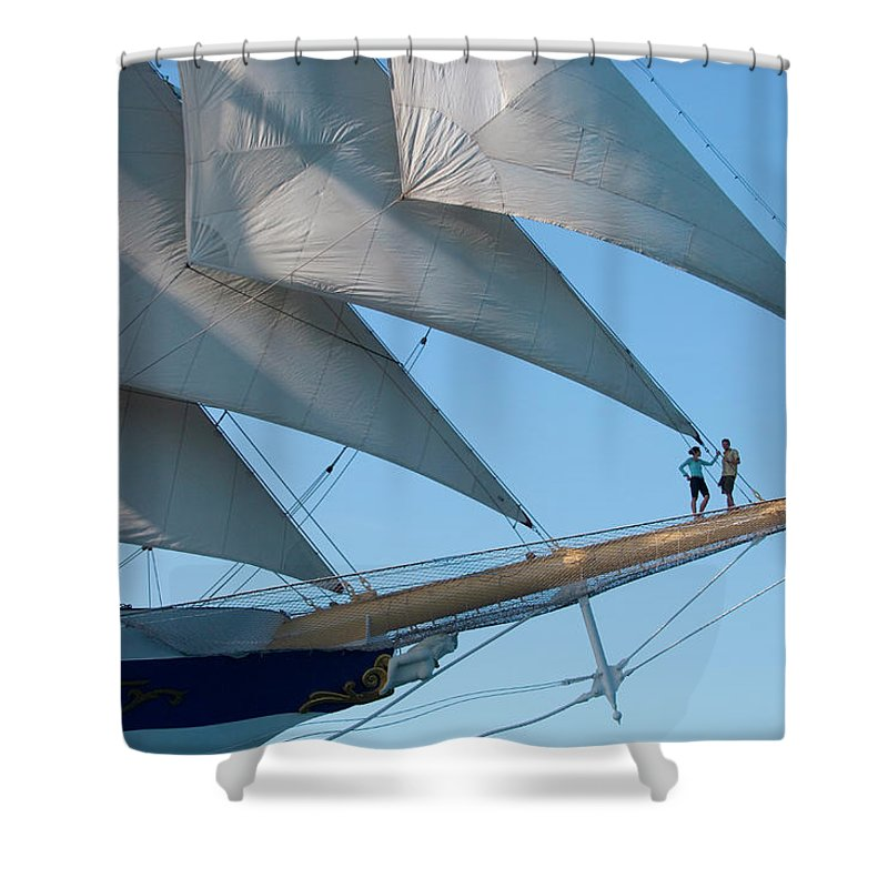 Heterosexual Couple Shower Curtain featuring the photograph Couple On Bowsprit Of Sailing Ship by Holger Leue