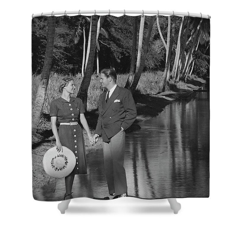 Heterosexual Couple Shower Curtain featuring the photograph Couple Outdoors by George Marks