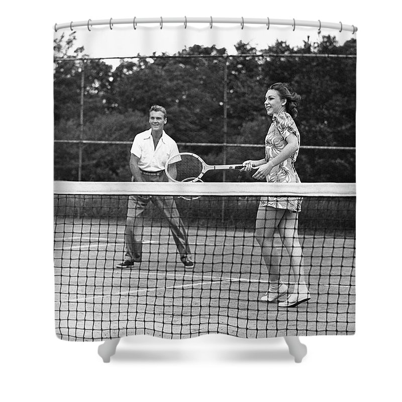 Heterosexual Couple Shower Curtain featuring the photograph Couple Playing Tennis by George Marks