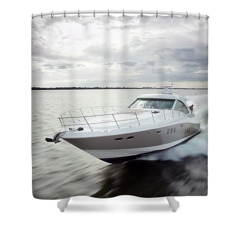Wake Shower Curtain featuring the photograph Couple Relaxing On Speed Boat, Dawn by Gary John Norman