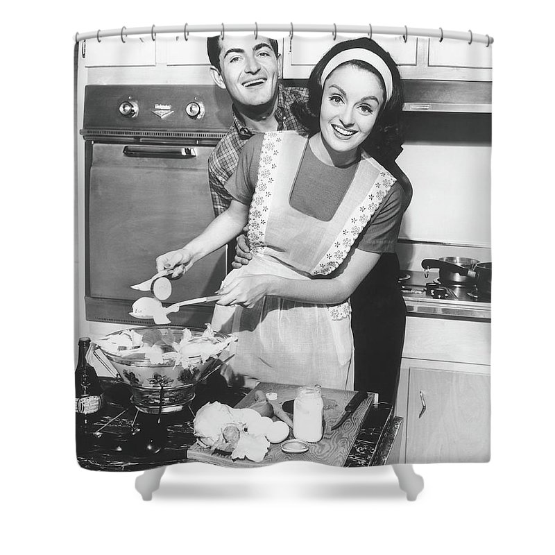 Heterosexual Couple Shower Curtain featuring the photograph Couple Standing In Kitchen, Smiling, B&w by George Marks