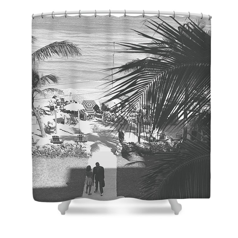 Heterosexual Couple Shower Curtain featuring the photograph Couple Walking In Path Towards Beach by George Marks