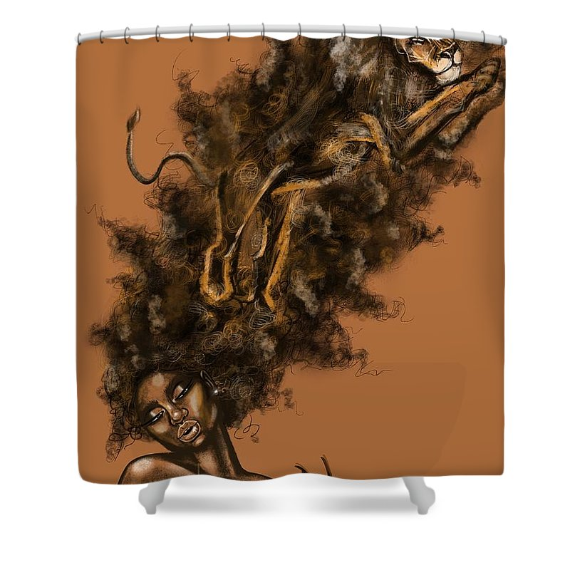 Lion Shower Curtain featuring the painting Courageous Me by Artist RiA